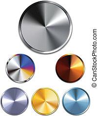 koppar, silver, buttons., metall, guld