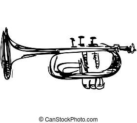 koppar, skiss, kornett, musikinstrument