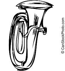 koppar, skiss, musikalisk, rör, instrument