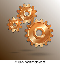 koppar, vektor, kugghjul, illustration, metallisk