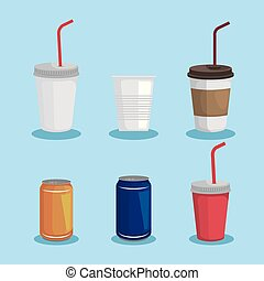koppen, plastic, set, blikjes, giftig afval