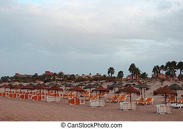 koppla av, strand scen