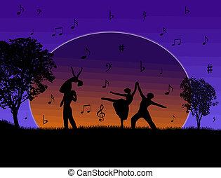 kopplar, dansande