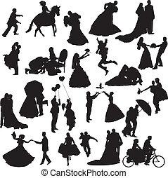kopplar, silhouettes, d, bröllop