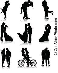 kopplar, silhouettes, romantisk