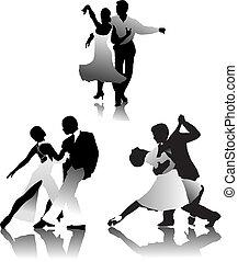 kopplar, tre, tango, dansande
