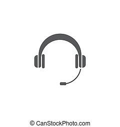 koptelefoon, concept, vrijstaand, vector, achtergrond, witte , pictogram