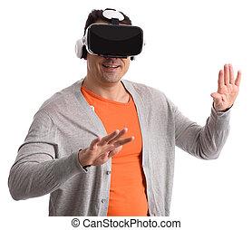 koptelefoon, gebruik, man, feitelijke realiteit