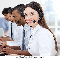 koptelefoon, jonge, handel team