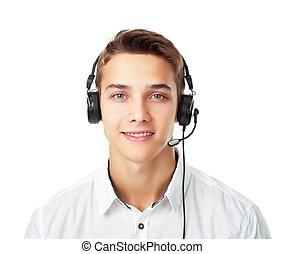 koptelefoon, jonge man