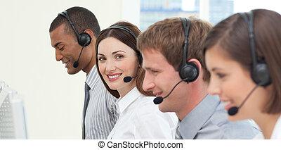 koptelefoon, jonge, zakenlui