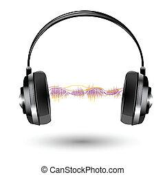 koptelefoon, met, geluidsgolf