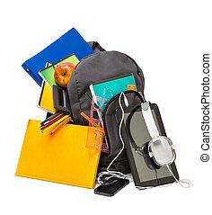 koptelefoon, schoolbenodigdheden, schooltas, tablet