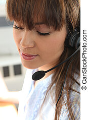 koptelefoon, vrouw, closeup, jonge