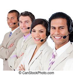 koptelefoon, zakelijk, het opstellen, team, het glimlachen