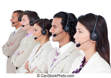 koptelefoon, zakelijk, het opstellen, zeker, team