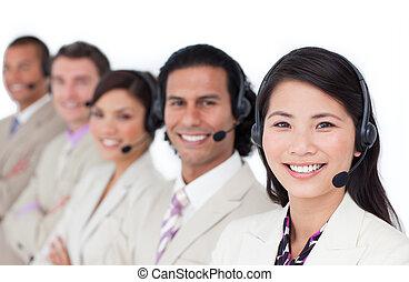 koptelefoon, zakelijk, voering, enthousiast, op, team