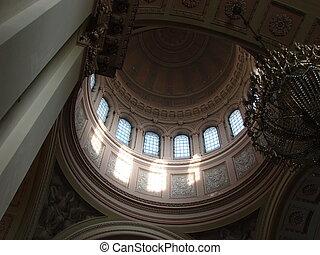 kopule, katedrála, mířidlo, interrior