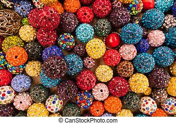 korále, kule, barvitý, display., klenotnictví, jiskřivý