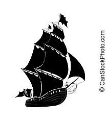 korablik - The vector drawing pirate sailing ship