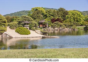 Korakuen is the famous traditional Japanese landscape garden in Okayama Japan