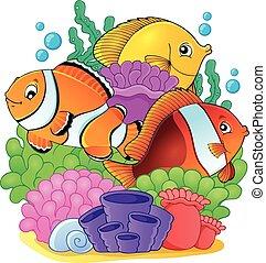 koral, fish, temat, rafa, 6, wizerunek