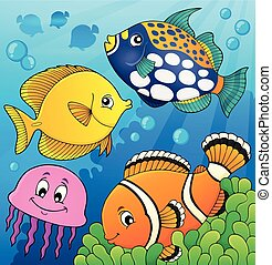 koral, fish, temat, rafa, 9, wizerunek