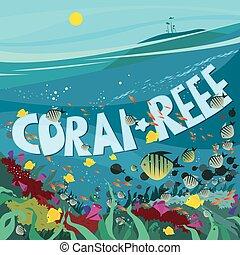 koral, fish, wodorost, rafa