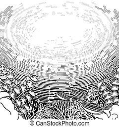 koral, graficzny zamiar, rafa