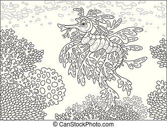 koral, pokryty obficie liśćmi, morze, rafa, smok