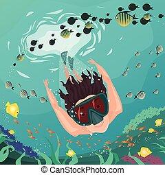 koral, snorkeling, dookoła, rafa, człowiek