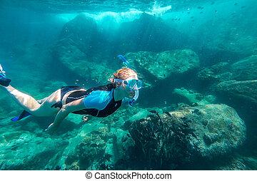 koral, snorkeling, rafa