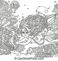 koraller, hest, verden, pige, liden, smukke, hænder, hav, baggrund, havfrue, anemoner, underwater svømme, fish