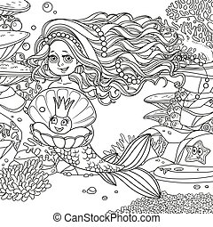 koraller, verden, cute, pige, fisk, smukke, skitseret, perle, skal, baggrund, havfrue, anemoner, underwater, starfish, holde