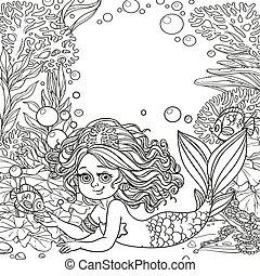 koraller, verden, pige, smukke, skitseret, havfrue, underwater, baggrund, anemoner, løgne, algen