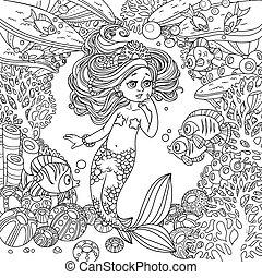 koraller, verden, ramme, pige, liden, skitseret, forundring, havfrue, underwater, fish, anemoner, baggrund, cartoon, det kommunikerer