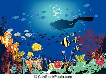 korallrev, med, olika, art, av, fish, och, silhuett, av, dykare, över, blå, hav, bakgrund.