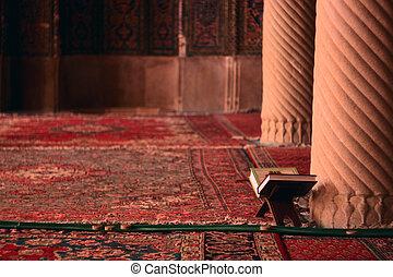 Koran books in mosque - Koran books in islamic mosque in ...