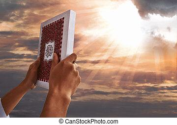 koran, człowiek, muslim, dzierżawa wręcza