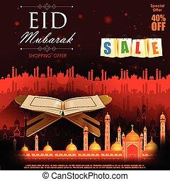 Koran in Happy Eid background - easy to edit vector...