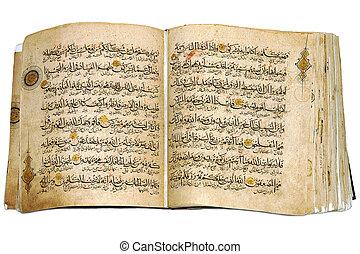 koran, książka, otworzony, odizolowany