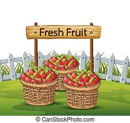 korb, äpfel, kleingarten