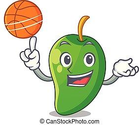korb, basketball, grün, karikaturen, mango