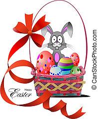 korb, eggs., vektor, ostern, abbildung