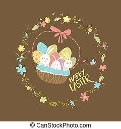 korb, eier, kaninchen, ostern, sitzen
