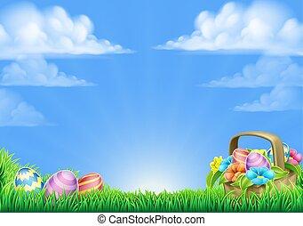 korb, eier, ostern, hintergrund