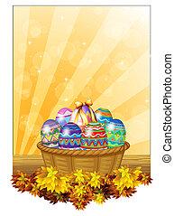 korb, eier, ostern