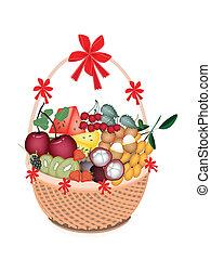 korb, ernährung, fruechte, gesundheit, geschenk