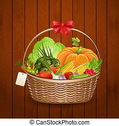 korb, frische gemüse, für, dein, design