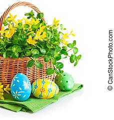 korb, fruehjahr, eier, blumen, ostern